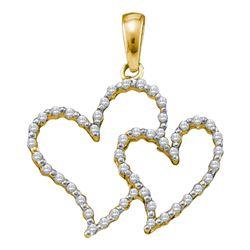 0.16 CTW Diamond Heart Love Pendant 10KT Yellow Gold - REF-11H2M