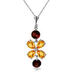Genuine 3.15 ctw Citrine & Garnet Necklace Jewelry 14KT White Gold - REF-30W3Y