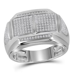 0.37 CTW Mens Diamond Double Square Cluster Ring 10KT White Gold - REF-56H2M