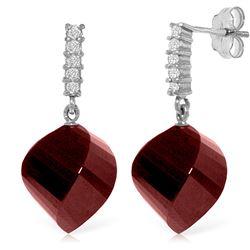 Genuine 30.65 ctw Ruby & Diamond Earrings Jewelry 14KT White Gold - REF-59M9T