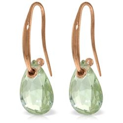 Genuine 8 ctw Green Amethyst Earrings Jewelry 14KT Rose Gold - REF-36M8T