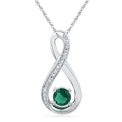 0.56 CTW Created Emerald Infinity Diamond Pendant 10KT White Gold - REF-13Y4X