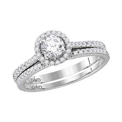 0.88 CTW Diamond Bridal Wedding Engagement Ring 14k White Gold - REF-187X4Y