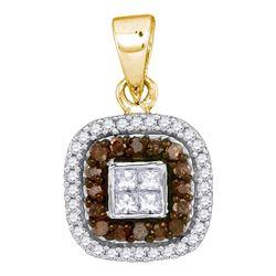 0.35 CTW Cognac-brown Color Diamond Square Pendant 10KT Yellow Gold - REF-22X4Y
