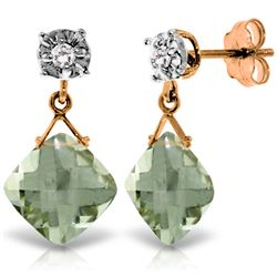 Genuine 17.56 ctw Green Amethyst & Diamond Earrings Jewelry 14KT Rose Gold - REF-48V3W