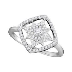 0.33 CTW Diamond Square Fashion Ring 10KT White Gold - REF-32M9H