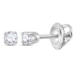 0.06 CTW Girls Infant Diamond Solitaire Stud Earrings 14KT White Gold - REF-7M4H
