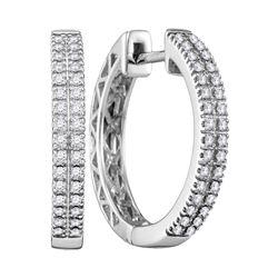0.33 CTW Diamond Hoop Earrings 10KT White Gold - REF-52H4M