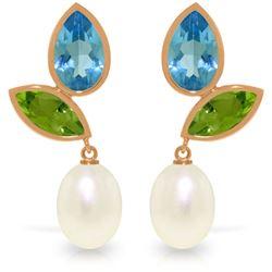 Genuine 16.6 ctw Blue Topaz & Peridot Earrings Jewelry 14KT Rose Gold - REF-45R7P