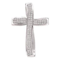 0.25 CTW Pave-set Diamond Cross Pendant 10KT White Gold - REF-22F4N