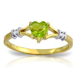 Genuine 0.47 ctw Peridot & Diamond Ring Jewelry 14KT Yellow Gold - REF-27R2P