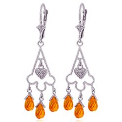 Genuine 4.23 ctw Citrine & Diamond Earrings Jewelry 14KT White Gold - REF-52H3X