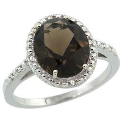 Natural 2.42 ctw Smoky-topaz & Diamond Engagement Ring 14K White Gold - REF-34N7G
