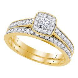 0.50 CTW Princess Diamond Bridal Engagement Ring 14k Yellow Gold - REF-67H4M