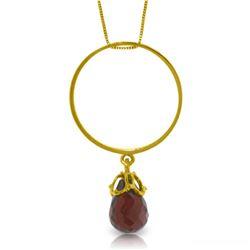 Genuine 3 ctw Garnet Necklace Jewelry 14KT Yellow Gold - REF-24W4Y