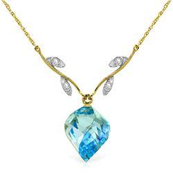 Genuine 13.92 ctw Blue Topaz & Diamond Necklace Jewelry 14KT Yellow Gold - REF-56F2Z