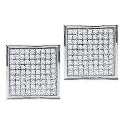 0.05 CTW Diamond Square Earrings 10KT White Gold - REF-7H4M