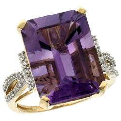 Natural 12.14 ctw amethyst & Diamond Engagement Ring 14K Yellow Gold - REF-66W2K