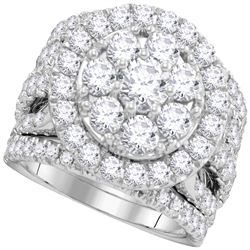 4.02 CTW Diamond Certified Halo Cluster Bridal Ring 14KT White Gold - REF-449K9W