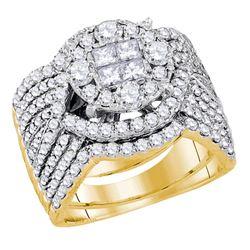 2.52 CTW Princess Diamond Soleil Bridal Engagement Ring 14KT Yellow Gold - REF-299M9H