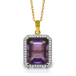 Genuine 5.8 ctw Amethyst & Diamond Necklace Jewelry 14KT Yellow Gold - REF-71K3V
