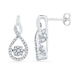 0.33 CTW Diamond Moving Cluster Earrings 10KT White Gold - REF-37N5F