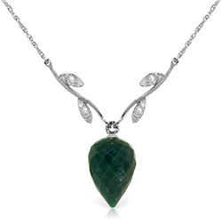 Genuine 12.92 ctw Green Sapphire Corundum & Diamond Necklace Jewelry 14KT White Gold - REF-42K2V