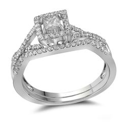 0.37 CTW Princess Diamond Bridal Engagement Ring 14KT White Gold - REF-48M7H