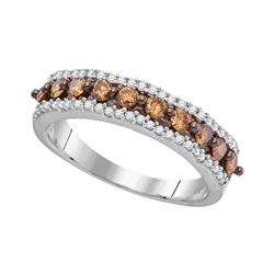 0.60 CTW Cognac-brown Color Diamond Ring 10KT White Gold - REF-36N2F