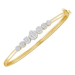 1 CTW Diamond Flower Cluster Bangle Bracelet 14KT Yellow Gold - REF-119N9F
