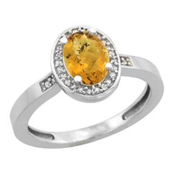 Natural 1.08 ctw Whisky-quartz & Diamond Engagement Ring 14K White Gold - REF-30H9W
