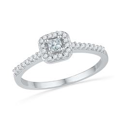 0.25 CTW Princess Diamond Solitaire Square Halo Bridal Ring 10KT White Gold - REF-22W4K