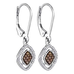 0.33 CTW Cognac-brown Color Diamond Diagonal Earrings 10KT White Gold - REF-20W9K
