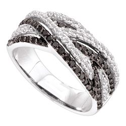 0.85 CTW Black Color Diamond Woven Strand Ring 14KT White Gold - REF-82F4N
