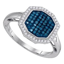 0.33 CTW Blue Color Diamond Octagon Geometric Cluster Ring 10KT White Gold - REF-26N9F