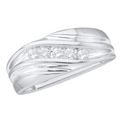 0.25 CTW Mens Diamond Wedding Anniversary Ring 14KT White Gold - REF-41W9K