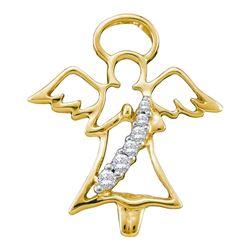 0.05 CTW Diamond Praying Guardian Angel Pendant 10KT Yellow Gold - REF-8H9M