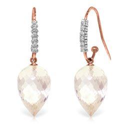 Genuine 24.68 ctw White Topaz & Diamond Earrings Jewelry 14KT Rose Gold - REF-64F7Z