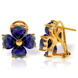 Genuine 7.2 ctw Sapphire Earrings Jewelry 14KT Yellow Gold - REF-112V2W