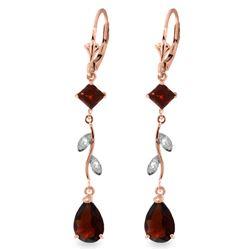 Genuine 3.97 ctw Garnet & Diamond Earrings Jewelry 14KT Rose Gold - REF-44R9P