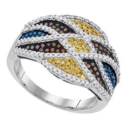 0.76 CTW Multicolor Diamond Fashion Ring 10KT White Gold - REF-71Y9X