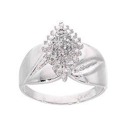0.12 CTW Diamond Cluster Ring 10KT White Gold - REF-18N7F