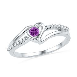 0.18 CTW Created Amethyst Heart Love Ring 10KT White Gold - REF-14F9N