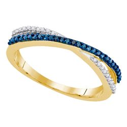 0.15 CTW Blue Color Diamond Slender Crossover Ring 10KT Yellow Gold - REF-12X2Y