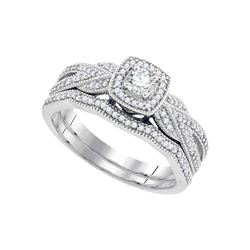 0.38 CTW Diamond Milgrain Bridal Wedding Engagement Ring 10KT White Gold - REF-57Y2X