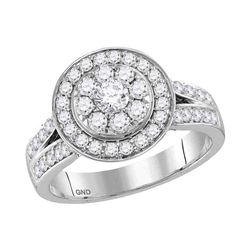 1.25 CTW Diamond Cluster Bridal Engagement Ring 14KT White Gold - REF-112H5M
