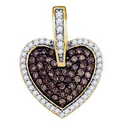 0.50 CTW Cognac-brown Color Diamond Heart Love Pendant 10KT Yellow Gold - REF-26N9F