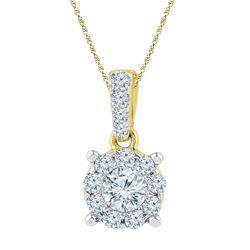0.50 CTW Diamond Solitaire Circle Pendant 10KT Yellow Gold - REF-52K4W
