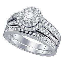 1.2 CTW Diamond Bridal Wedding Engagement Ring 14KT White Gold - REF-222K2W