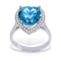 Genuine 6.44 ctw Blue Topaz & Diamond Ring Jewelry 14KT White Gold - REF-69M6T